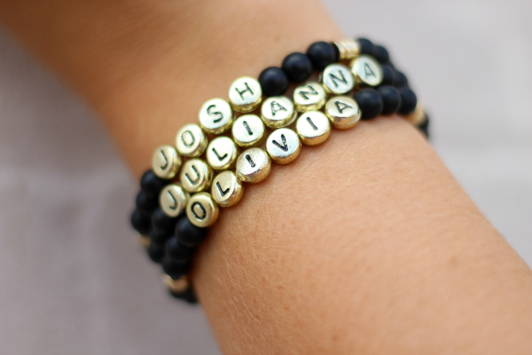 personalized name bracelets, handmade jewels, style on a budget, north carolina blogger, mom style