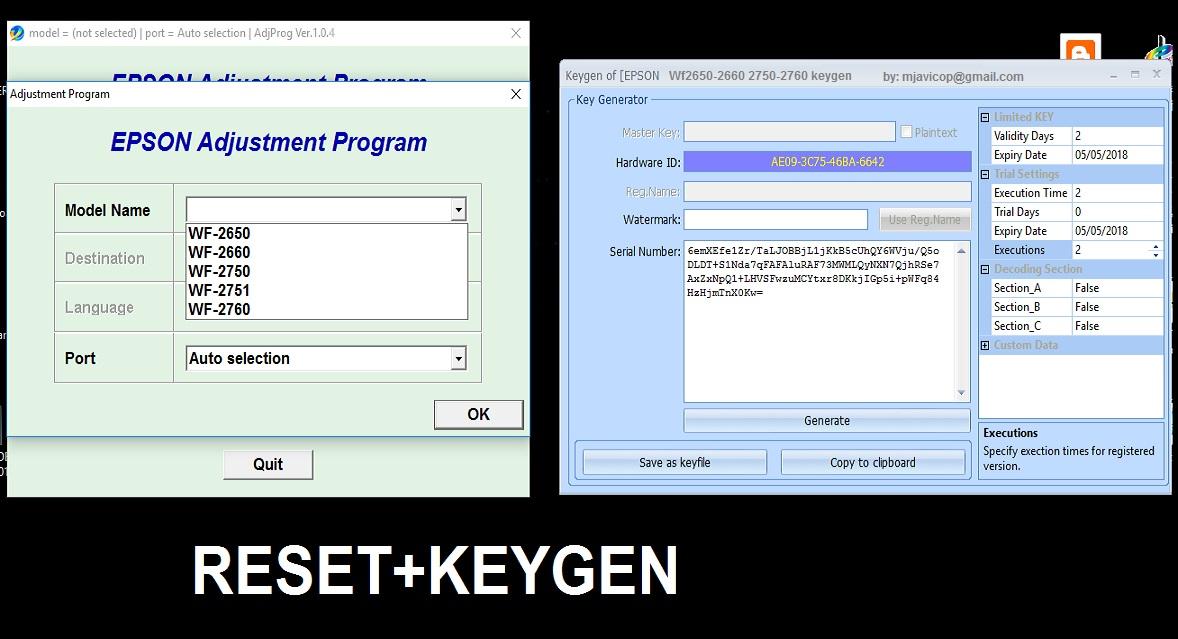 reset epson l395-l495 con key