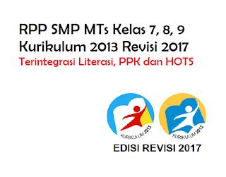RPP Matematika Kelas 7, 8, 9 Kurikulum 2013 Revisi 2018 Terintegrasi Literasi, PPK dan HOTS