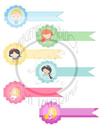 Las princesas disney en preciosas etiquetas para imprimir for Pegatinas decorativas para bebes