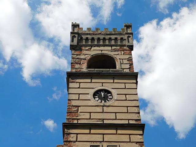 zegar, pałac, goscieszyn, niebo