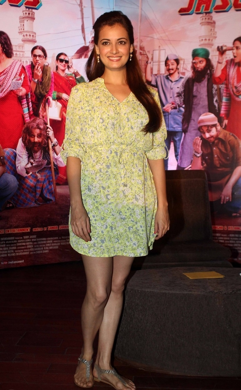 Actress Dia Mirza Hot Legs Thighs In Yellow Skirt