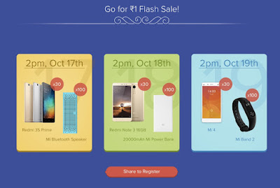 Xiaomi Mi Diwali Rs 1 Flash Sale: Buy Redmi 3s, Note 3, Mi4 and More @Rs 1