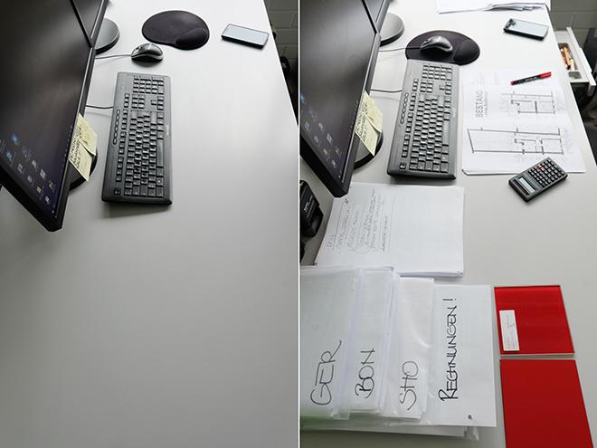 12von12, Schreibtisch, vorher/nachher
