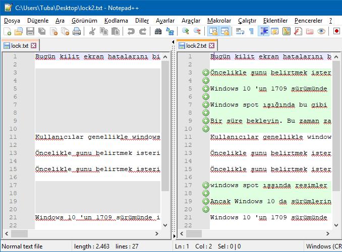 notepad++ ile dosya karşılaştırma