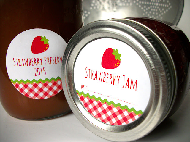 gingham strawberry jam canning labels
