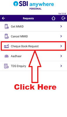 how to apply sbi cheque book through sbi anywhere app
