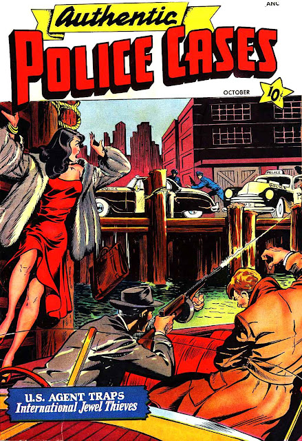 Authentic Police Cases v1 #9 st john crime comic book cover art by Matt Baker