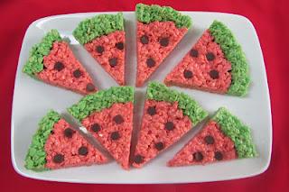 Watermelon Krispie Slices