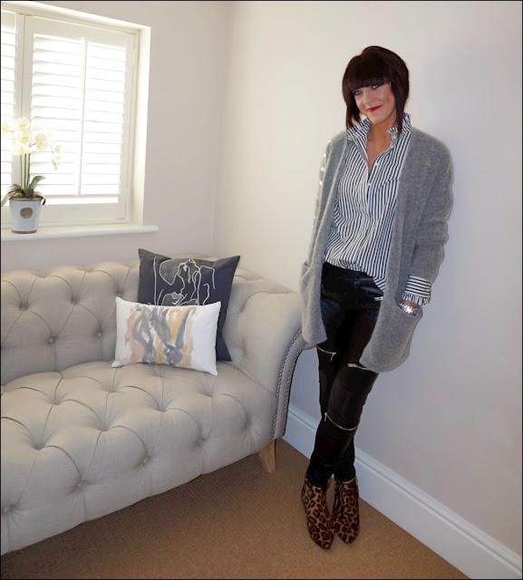 My Midlife Fashion, H&M cotton stripe ruffle shirt, hm mohair cardigan, zara faux leather biker trousers, boden leopard print pixie boots