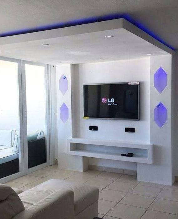 gypsum bourd tv units in action. Black Bedroom Furniture Sets. Home Design Ideas