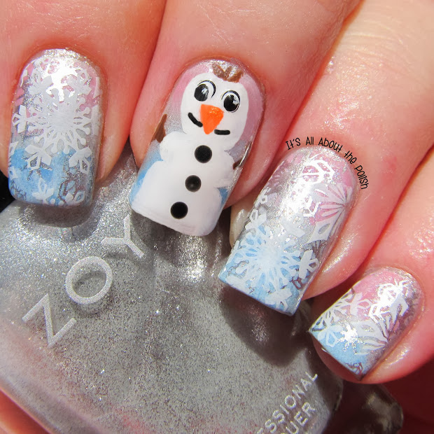 Nail Art Disney Frozen Olaf