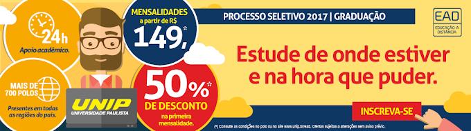 Em Chapadinha, aproveite o processo seletivo 2017 da UNIP, mensalidades a partir de R$ 149 e 50% de desconto