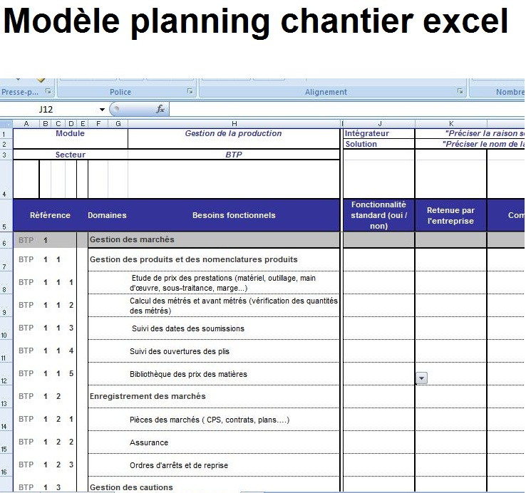 Turbo Modèle planning et planification chantier excel éditable - Exemple  HK45