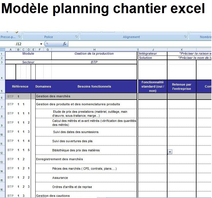 mod le planning et planification chantier excel ditable exemple 3 outils livres exercices. Black Bedroom Furniture Sets. Home Design Ideas