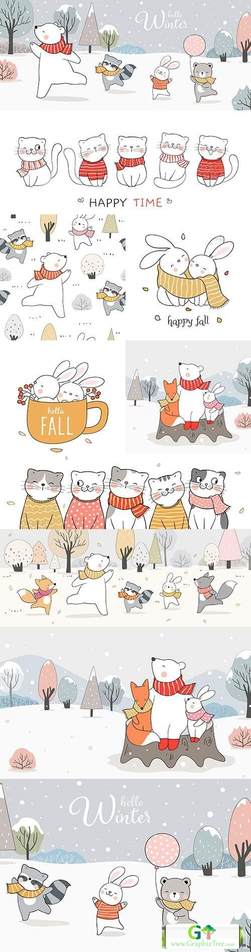 Hello winter forest animals cartoon drawn illustrations