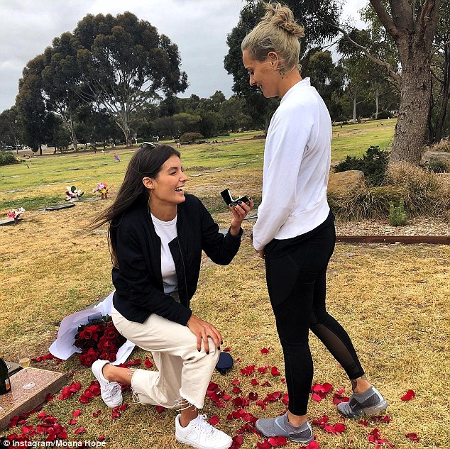 AFL star Moana Hope announces her engagement to model girlfriend Isabella Carlstrom