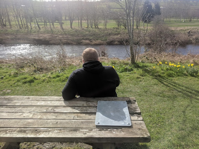 Rothbury Riverside Walk, Picnic Spots & Playground  - picnic bench by the river coquet