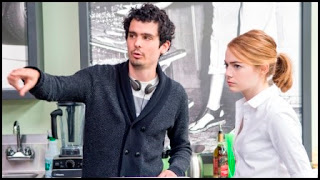 Damien Chazelle y Emma Stone en el set de La La Land