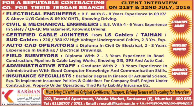 Recruitment to reputed contracting company in Jeddah