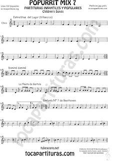 Popurrí Mix 7 Partitura de Viola Campanitas del Lugar Dominó La Flauta de Bartolo Sinfonía Nº 7 Beethoven Popurrí Mix 7 Sheet Music for Viola Music Score    Popurrí Mix 7 Partitura de Oboe Campanitas del Lugar Dominó La Flauta de Bartolo Sinfonía Nº 7 Beethoven Popurrí Mix 7 Sheet Music for Oboe Music Score