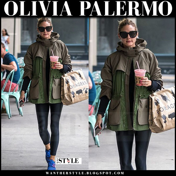 Olivia Palermo in green moncler jacket, black leggings and blue sneakers nike roshe one what she wore