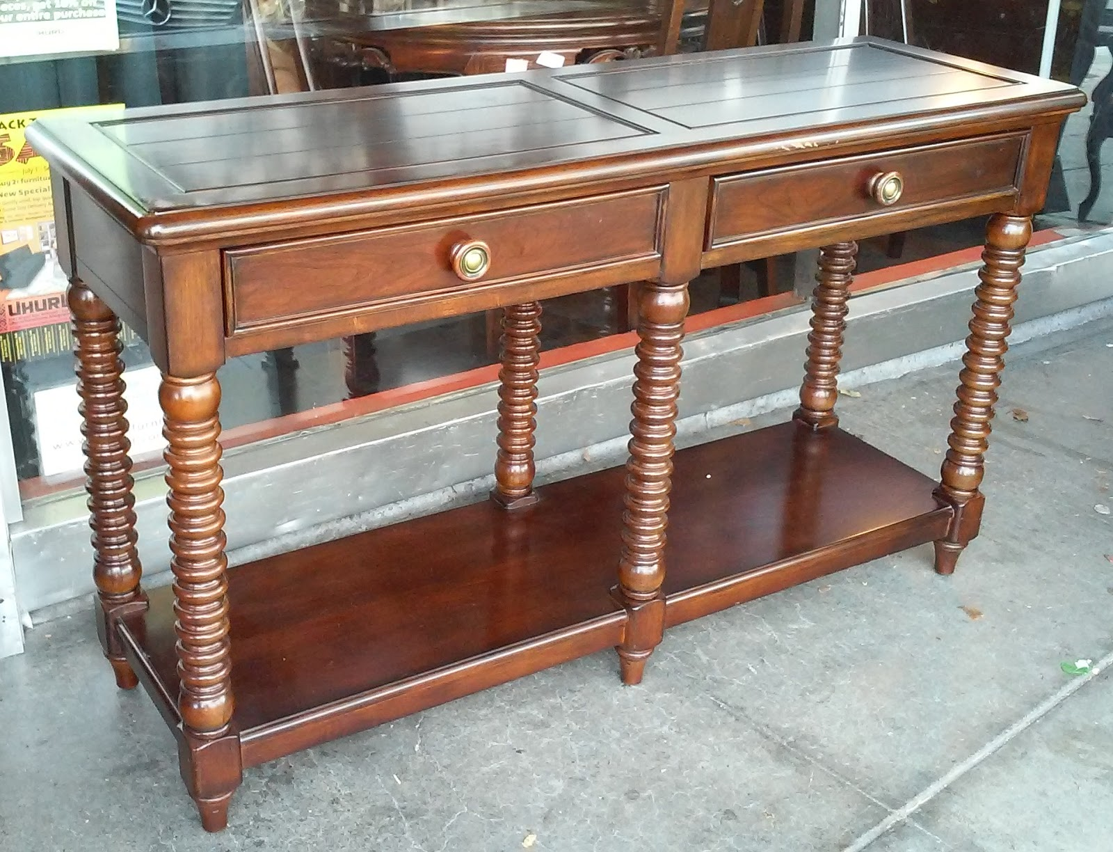 Uhuru Furniture Collectibles Sold 4678 Lane Country Living Dark Cherry 4 1 2 39 Sofa Table 70