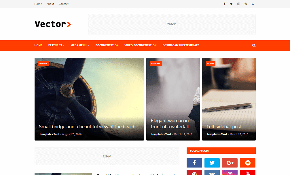 Vector Blogging Blogger Template