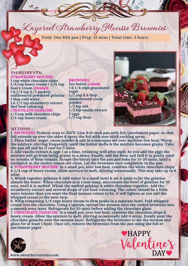 LAYERED STRAWBERRY MOUSSE BROWNIES RECIPE