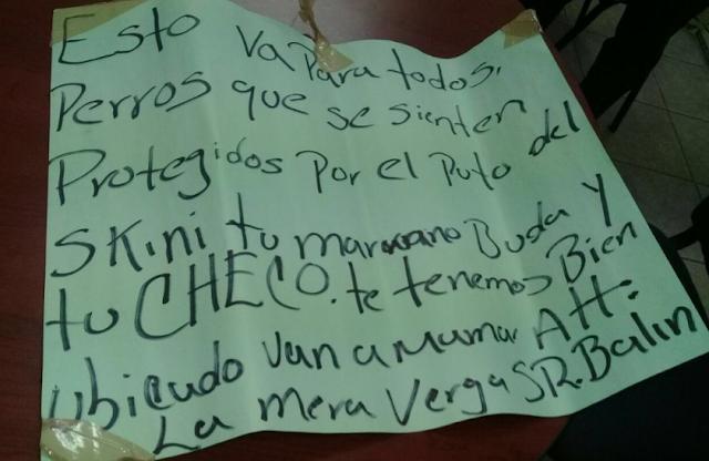 """""""Esto es para todos los perros, que se sientan protegidos"""" aparece narcocartulina con amenazas de """"La Barredora"""""""