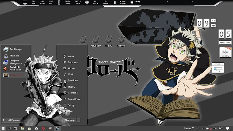 [ThemeWIN10] Black Clover by kurohtenshi