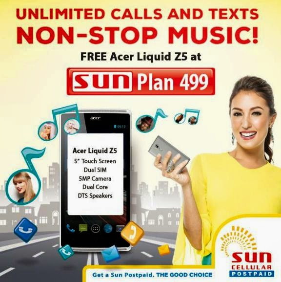 Acer Liquid Z5 Free at Sun Plan 499, Comes with Unlimited Music Streaming