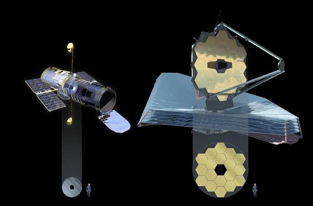 Hubble e James Webb - comparação