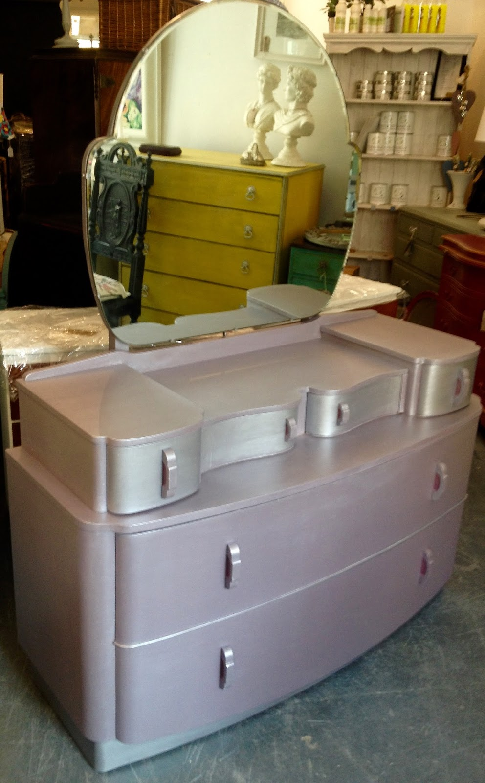 Art Deco Style Purple Painted Dressing Table