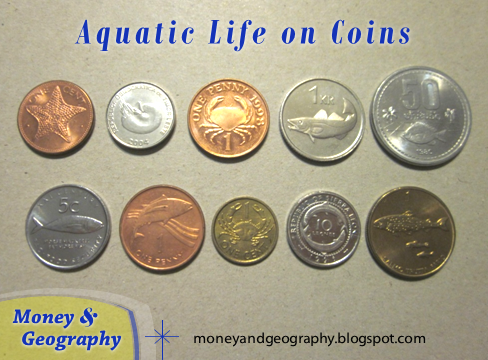 Ten coins from the Bahamas, East Timor, Guernsey, Iceland, Laos, Namibia, Seychelles, Saint Helena and Ascension, Sierra Leone, and Slovenia with aquatic life (crabs, fish, etc.) on them