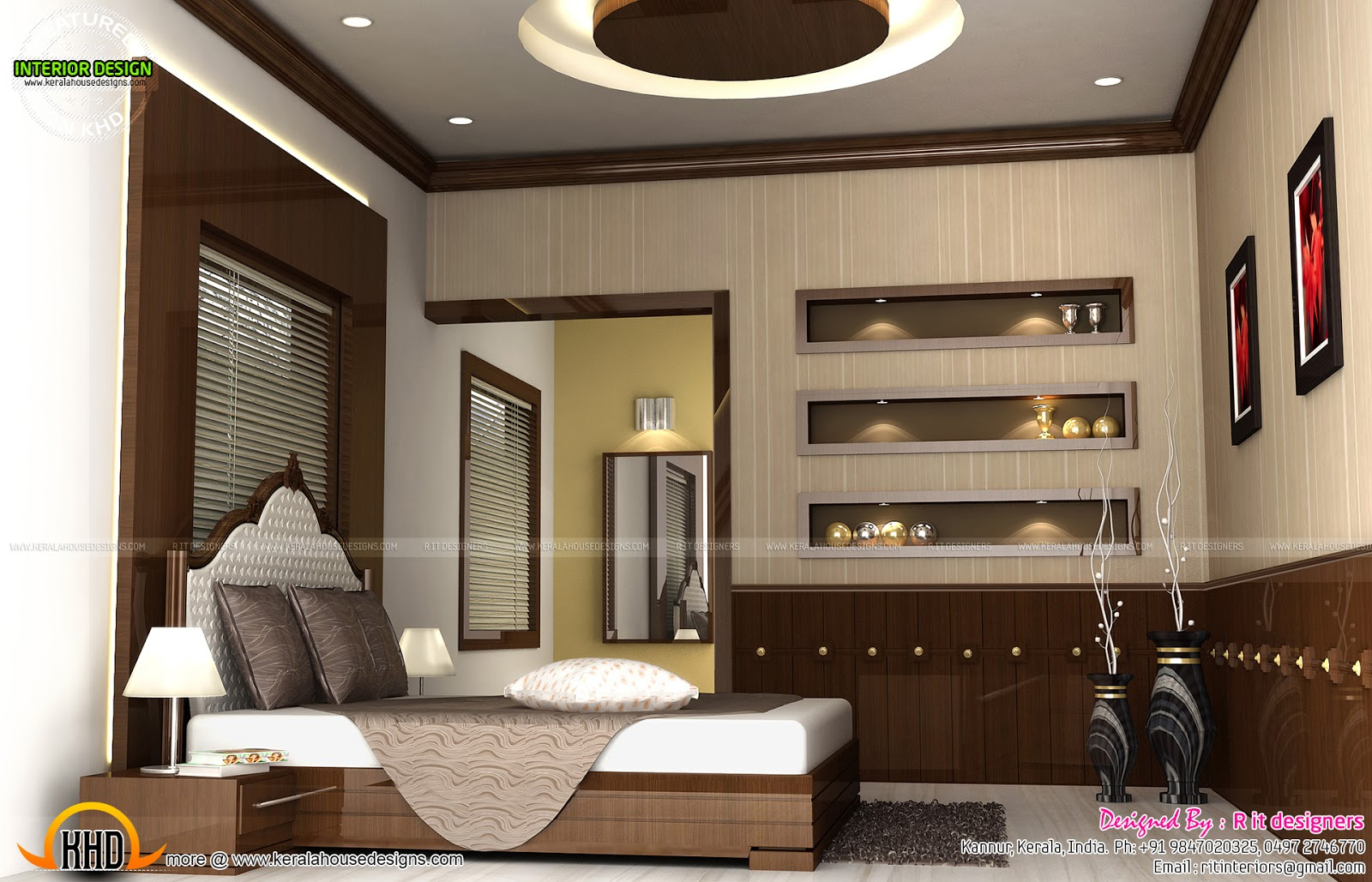 Modular kitchen, bedroom and staircase interior - Kerala ...