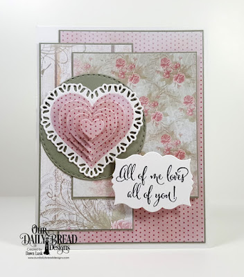 Our Daily Bread Designs Stamp Set: Hugs and Kisses, Paper Collection: Shabby Rose, Custom Dies: Mini Labels, Tulip Heart, Layering Hearts, Double Stitched Circles