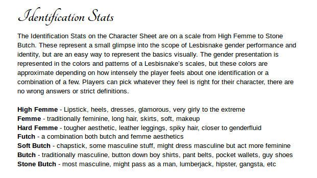 details of the identification stats including presentation like lipstick, butch and femme aesthetics, and some details of how the scales of the lesbisnake impacts the presentation of the character.