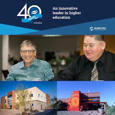Collage of images, including photo of Bill Gates with student Shawn Lee, exterior shots of RSC Downtown and SPOT 127.  40th Anniversary banner: Rio Salado an innovative leader in higher education