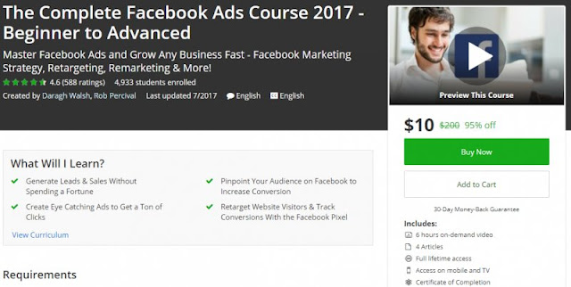 [100% Off] The Complete Facebook Ads Course 2017 - Beginner to Advanced| Worth 200$