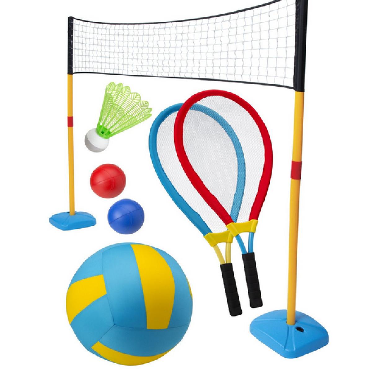 Un filet, des balles et des raquettes pour s'amuser partout.