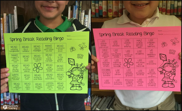 Spring Break Reading Bingo Keep your students reading over spring break with this fun activity. Click HERE for your FREE Copy