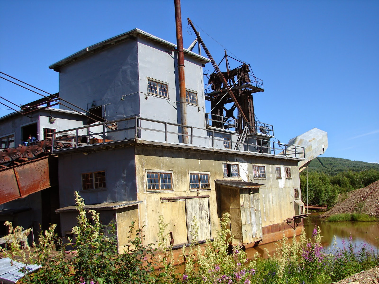 Actual gold dredge in easy to view spot near Fairbanks.
