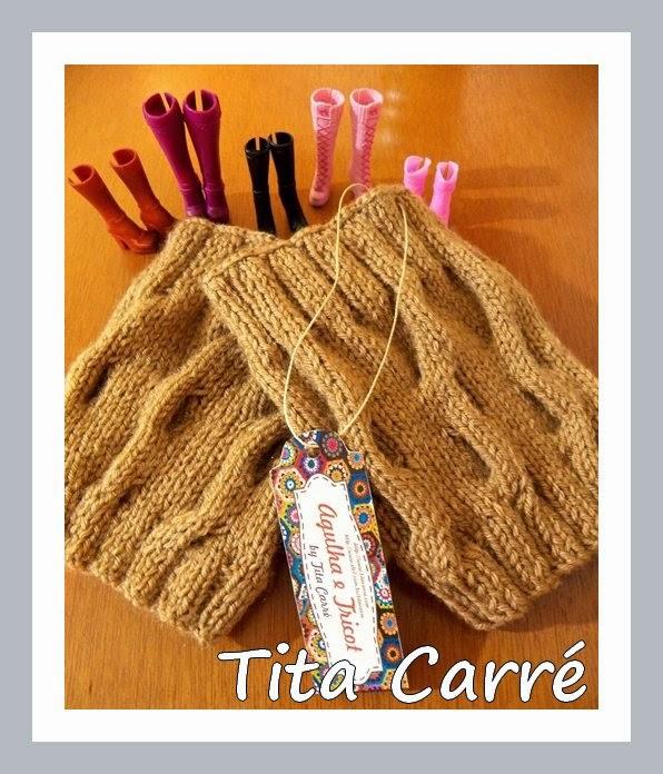 1c45b621fa Polaina curta om motivos em cordas em tricot para usar com bota