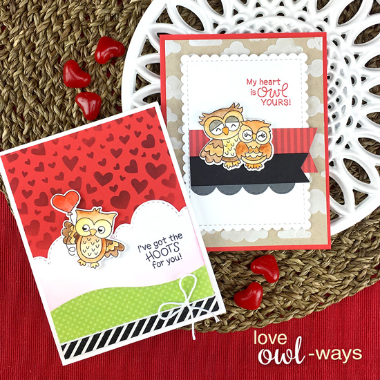 Owl Valentine Cards by Jennifer Jackson | Love Owl-ways Stamp Set by Newton's Nook Designs #newtonsnook #handmade