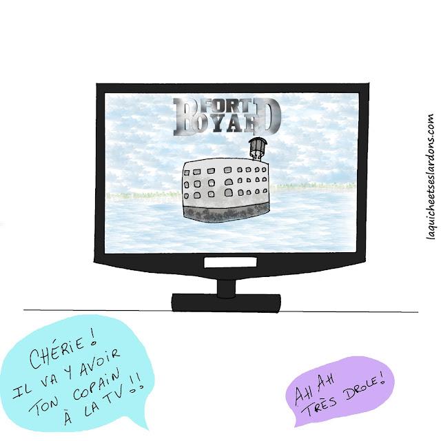 dessin humour illustration tv fort boyard télé écran plat