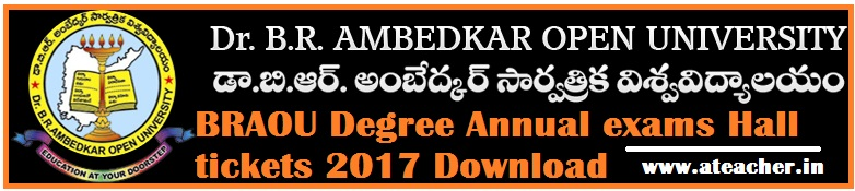 BRAOU Degree/UG Annual examinations Hall tickets 2017 Download @braouonline.in