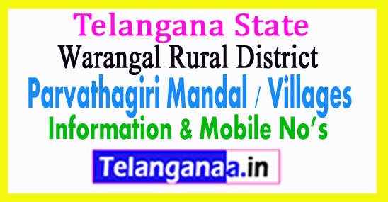 Parvathagiri Mandal Villages in Warangal Rural District Telangana
