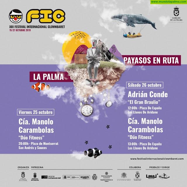 El Festival Internacional Clownbaret regresa a La Palma con los espectáculos de Adrián Conde y Manolo Carambolas