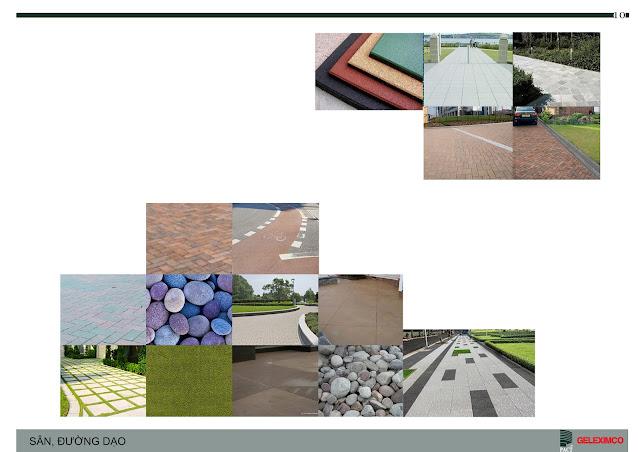 Phối cảnh sân, đường dạo bộ và nguyên vật liệu sẽ thi công